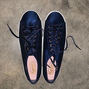Navy Blue Satin Ked Sneakers